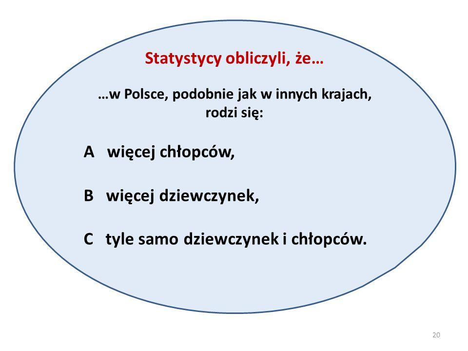 Statystycy obliczyli, że… …w Polsce, podobnie jak w innych krajach, rodzi się: A więcej chłopców, B więcej dziewczynek, C tyle samo dziewczynek i chłopców.