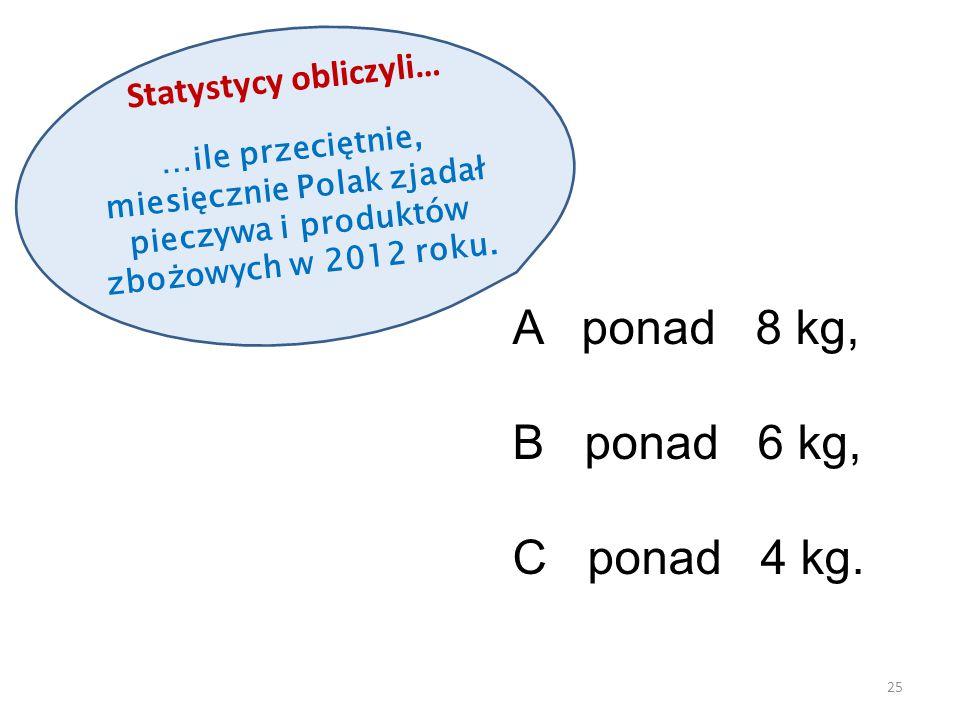 Statystycy obliczyli… …ile przeciętnie, miesięcznie Polak zjadał pieczywa i produktów zbożowych w 2012 roku. 25 A ponad 8 kg, B ponad 6 kg, C ponad 4