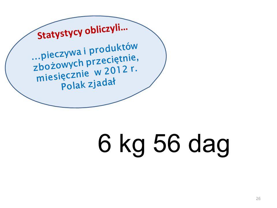 Statystycy obliczyli…...pieczywa i produktów zbożowych przeciętnie, miesięcznie w 2012 r. Polak zjadał 26 6 kg 56 dag