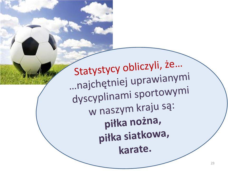 Statystycy obliczyli, że… …najchętniej uprawianymi dyscyplinami sportowymi w naszym kraju są: piłka nożna, piłka siatkowa, karate. 29