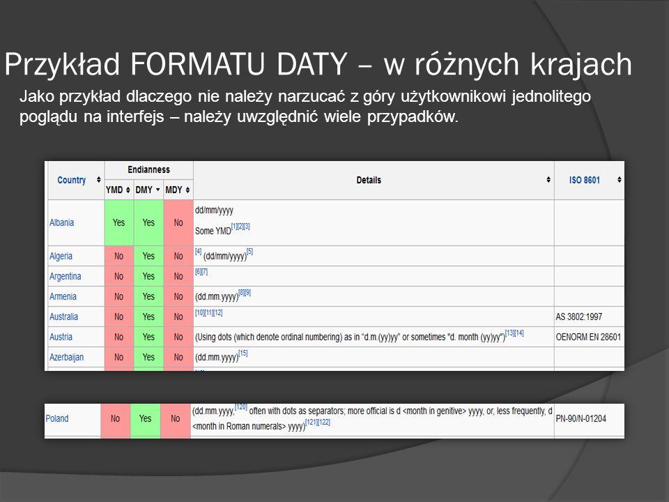 Przykład FORMATU DATY – w różnych krajach Jako przykład dlaczego nie należy narzucać z góry użytkownikowi jednolitego poglądu na interfejs – należy uwzględnić wiele przypadków.