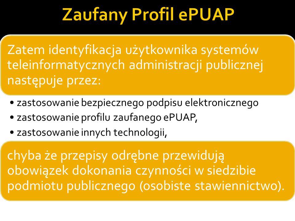Zatem identyfikacja użytkownika systemów teleinformatycznych administracji publicznej następuje przez: zastosowanie bezpiecznego podpisu elektroniczne