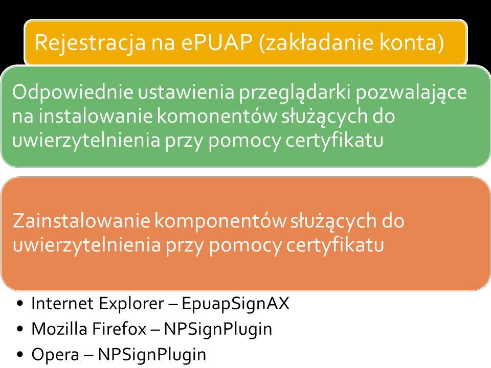Rejestracja na ePUAP (zakładanie konta) Odpowiednie ustawienia przeglądarki pozwalające na instalowanie komonentów służących do uwierzytelnienia przy