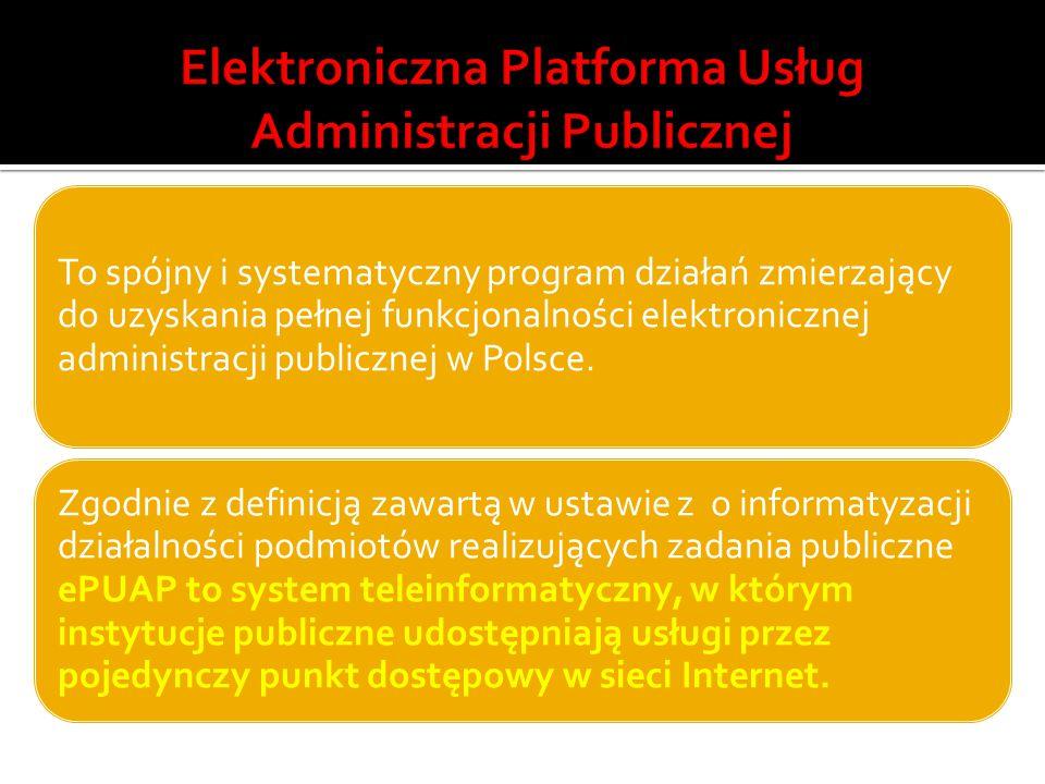 To spójny i systematyczny program działań zmierzający do uzyskania pełnej funkcjonalności elektronicznej administracji publicznej w Polsce. Zgodnie z
