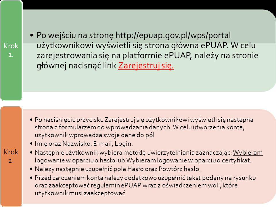 Rejestracja na ePUAP (zakładanie konta) Po wejściu na stronę http://epuap.gov.pl/wps/portal użytkownikowi wyświetli się strona główna ePUAP. W celu za