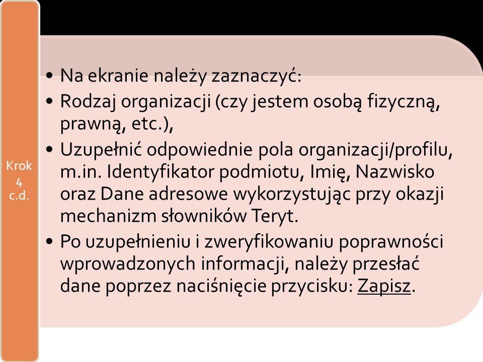 Rejestracja na ePUAP (zakładanie konta) Na ekranie należy zaznaczyć: Rodzaj organizacji (czy jestem osobą fizyczną, prawną, etc.), Uzupełnić odpowiedn