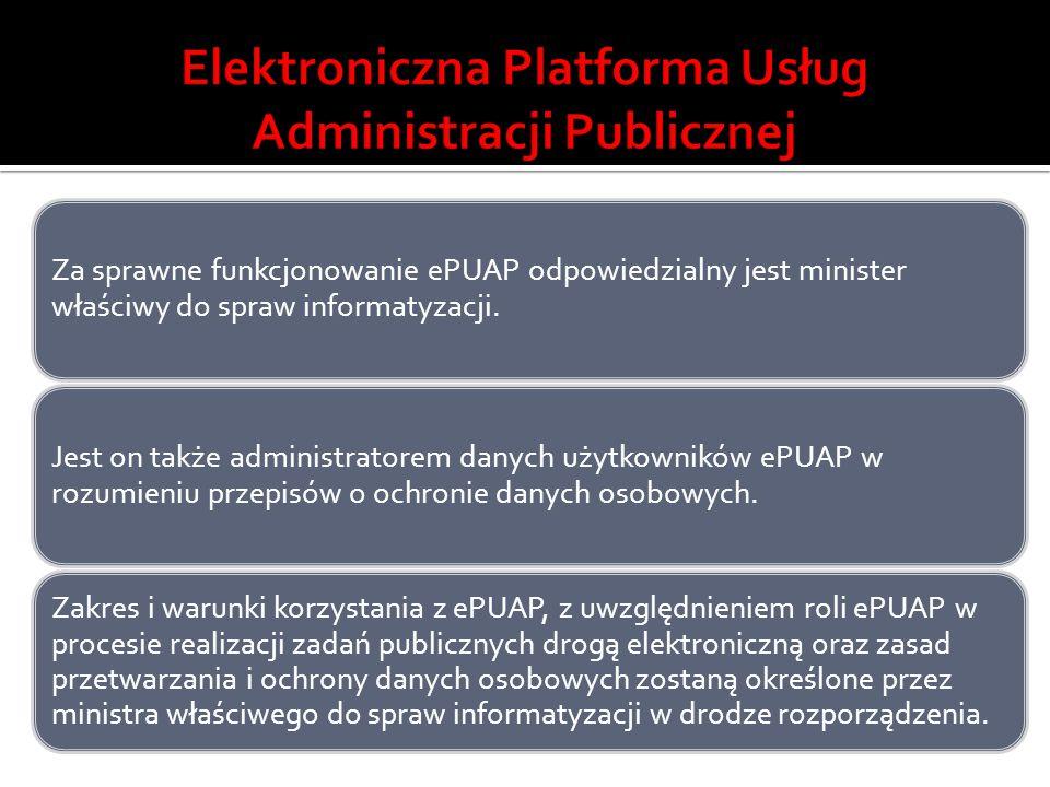 Za sprawne funkcjonowanie ePUAP odpowiedzialny jest minister właściwy do spraw informatyzacji. Jest on także administratorem danych użytkowników ePUAP
