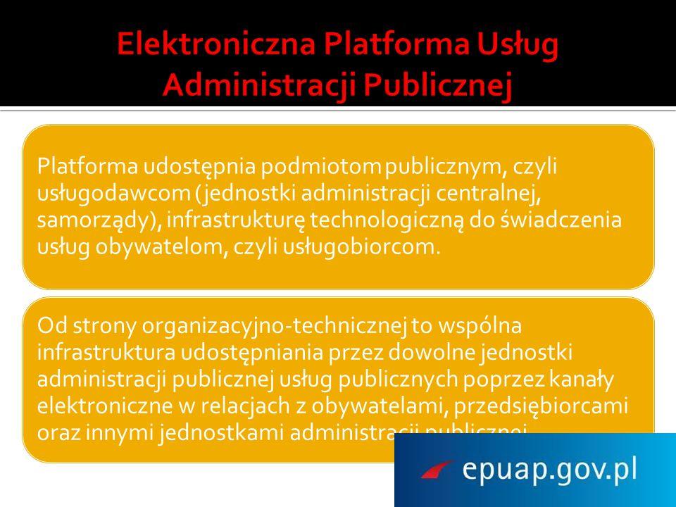 Platforma udostępnia podmiotom publicznym, czyli usługodawcom (jednostki administracji centralnej, samorządy), infrastrukturę technologiczną do świadc