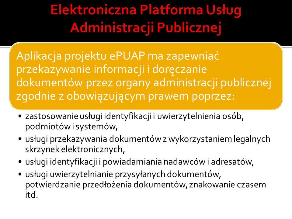Aplikacja projektu ePUAP ma zapewniać przekazywanie informacji i doręczanie dokumentów przez organy administracji publicznej zgodnie z obowiązującym p