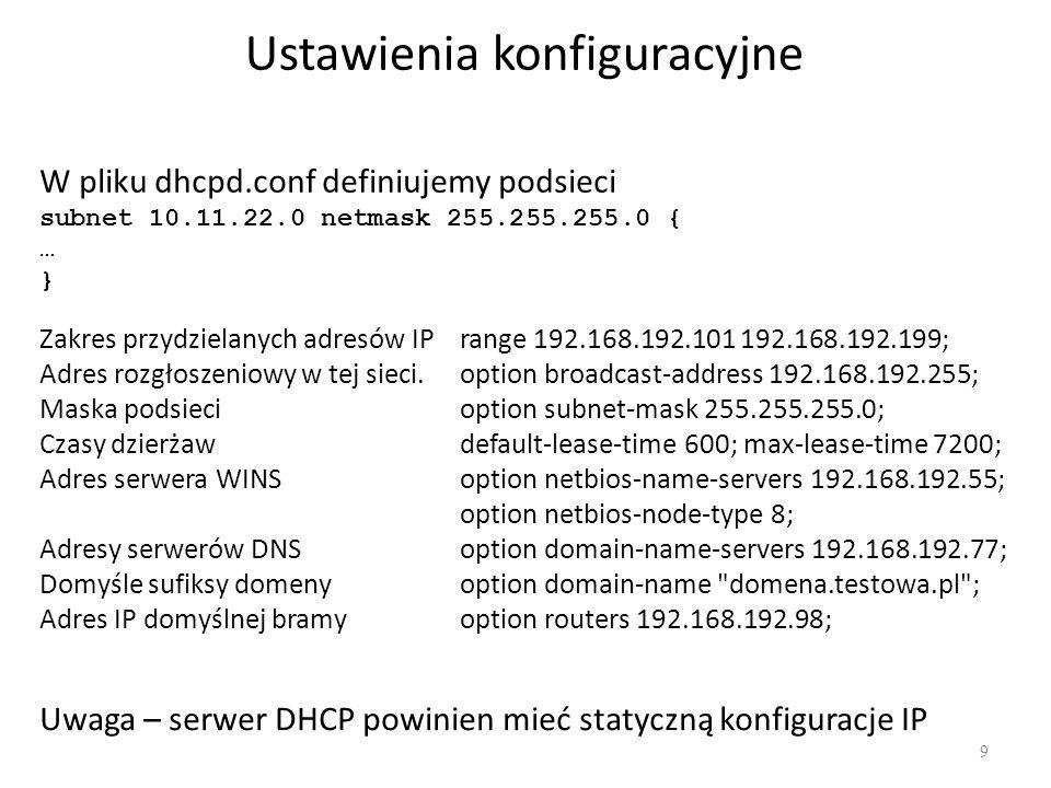 Dynamiczny DNS i DHCP 10 Serwer BIND9 może dynamicznie rejestrować nazwy hostów.