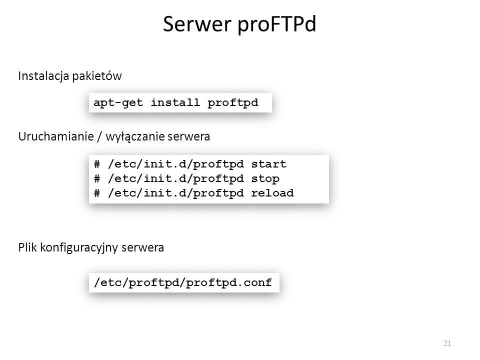 Serwer proFTPd 21 Instalacja pakietów apt-get install proftpd # /etc/init.d/proftpd start # /etc/init.d/proftpd stop # /etc/init.d/proftpd reload # /e