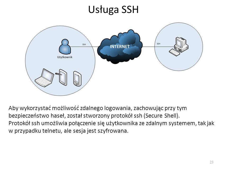 Usługa SSH 23 Aby wykorzystać możliwość zdalnego logowania, zachowując przy tym bezpieczeństwo haseł, został stworzony protokół ssh (Secure Shell). Pr