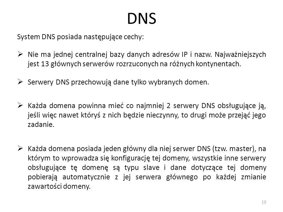 DNS System DNS posiada następujące cechy:  Nie ma jednej centralnej bazy danych adresów IP i nazw. Najważniejszych jest 13 głównych serwerów rozrzuco