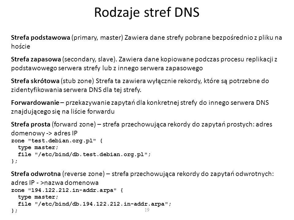 19 Rodzaje stref DNS Strefa podstawowa (primary, master) Zawiera dane strefy pobrane bezpośrednio z pliku na hoście Strefa zapasowa (secondary, slave).