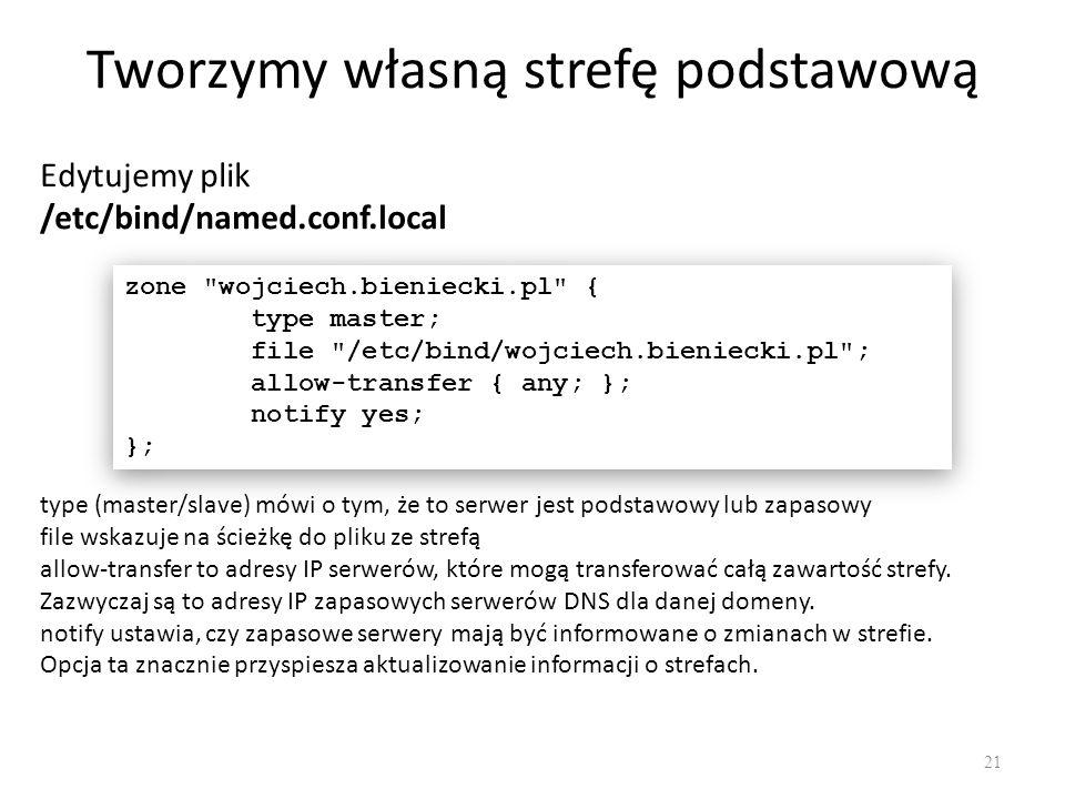 Tworzymy własną strefę podstawową Edytujemy plik /etc/bind/named.conf.local zone