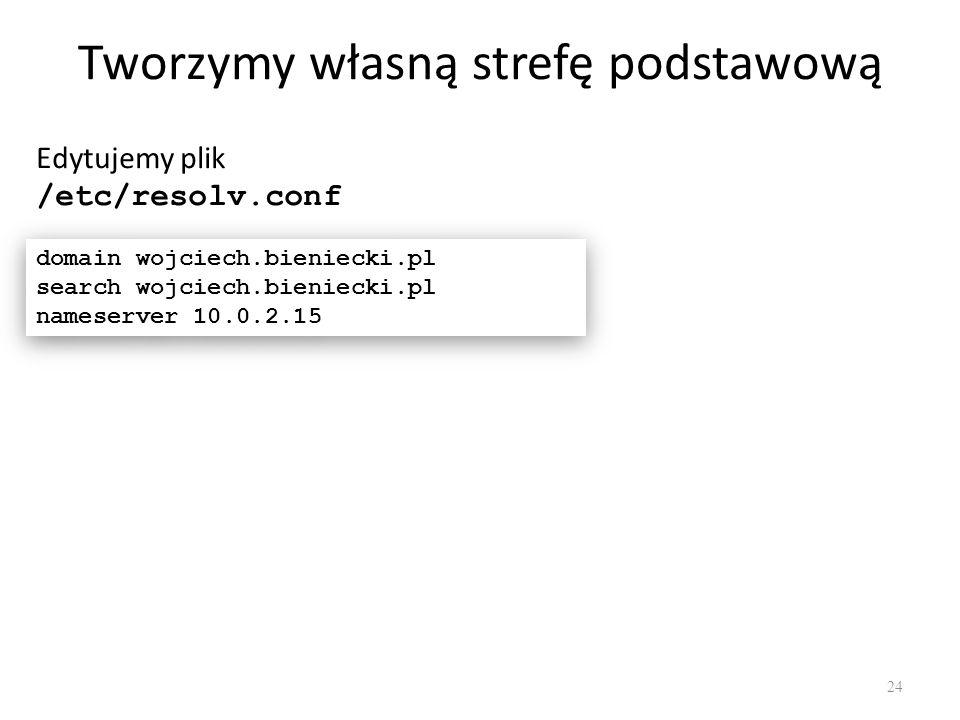 Tworzymy własną strefę podstawową Edytujemy plik /etc/resolv.conf domain wojciech.bieniecki.pl search wojciech.bieniecki.pl nameserver 10.0.2.15 domain wojciech.bieniecki.pl search wojciech.bieniecki.pl nameserver 10.0.2.15 24