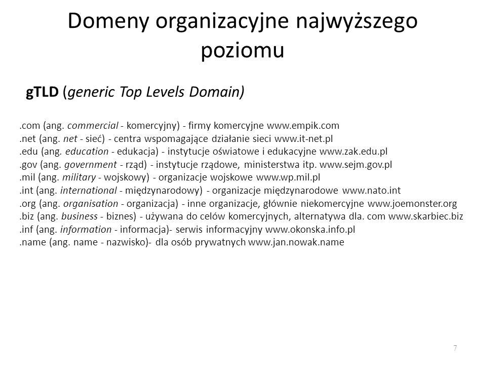 Domeny organizacyjne najwyższego poziomu 7 gTLD (generic Top Levels Domain).com (ang. commercial - komercyjny) - firmy komercyjne www.empik.com.net (a
