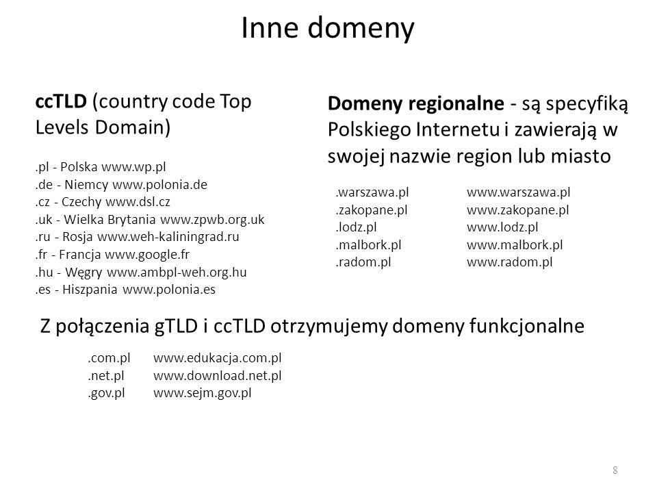Inne domeny 8 ccTLD (country code Top Levels Domain).pl - Polska www.wp.pl.de - Niemcy www.polonia.de.cz - Czechy www.dsl.cz.uk - Wielka Brytania www.zpwb.org.uk.ru - Rosja www.weh-kaliningrad.ru.fr - Francja www.google.fr.hu - Węgry www.ambpl-weh.org.hu.es - Hiszpania www.polonia.es Domeny regionalne - są specyfiką Polskiego Internetu i zawierają w swojej nazwie region lub miasto.warszawa.plwww.warszawa.pl.zakopane.plwww.zakopane.pl.lodz.plwww.lodz.pl.malbork.plwww.malbork.pl.radom.plwww.radom.pl Z połączenia gTLD i ccTLD otrzymujemy domeny funkcjonalne.com.plwww.edukacja.com.pl.net.plwww.download.net.pl.gov.plwww.sejm.gov.pl