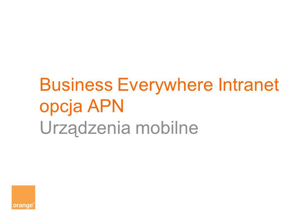Business Everywhere Intranet opcja APN Urządzenia mobilne
