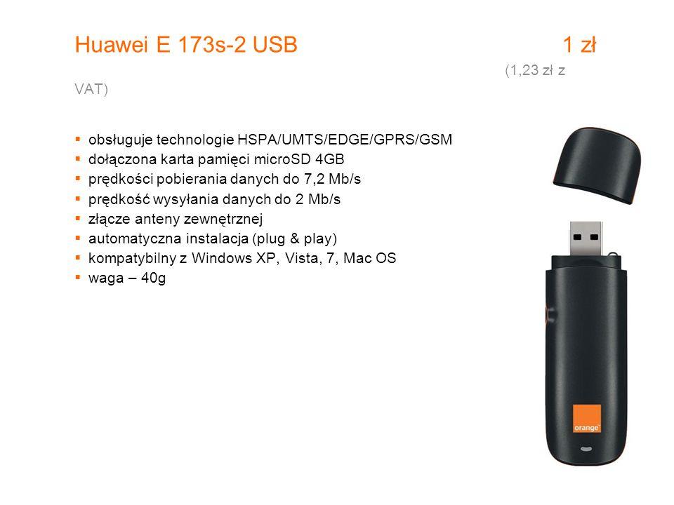 Huawei E 173s-2 USB 1 zł (1,23 zł z VAT)  obsługuje technologie HSPA/UMTS/EDGE/GPRS/GSM  dołączona karta pamięci microSD 4GB  prędkości pobierania