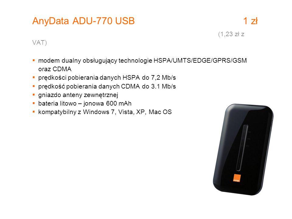 AnyData ADU-770 USB 1 zł (1,23 zł z VAT)  modem dualny obsługujący technologie HSPA/UMTS/EDGE/GPRS/GSM oraz CDMA  prędkości pobierania danych HSPA d