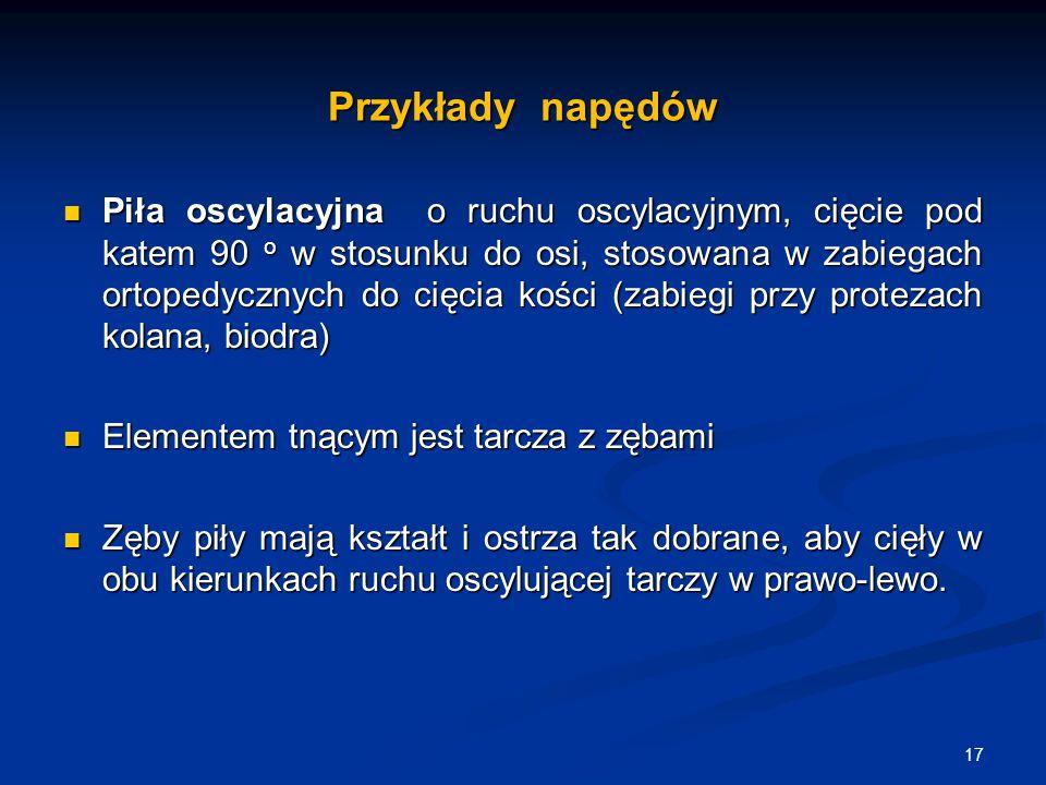 Przykłady napędów Piła oscylacyjna o ruchu oscylacyjnym, cięcie pod katem 90 o w stosunku do osi, stosowana w zabiegach ortopedycznych do cięcia kości
