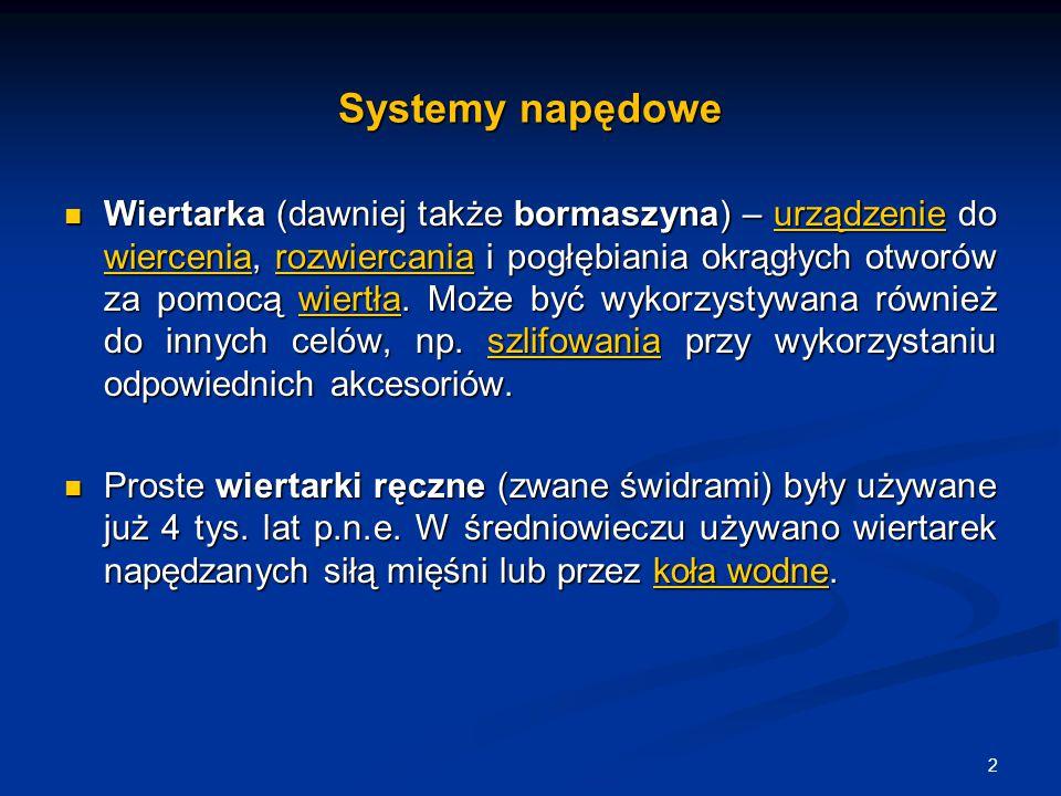 Przykłady napędów 13 Wiertarka do dużych i małych kości