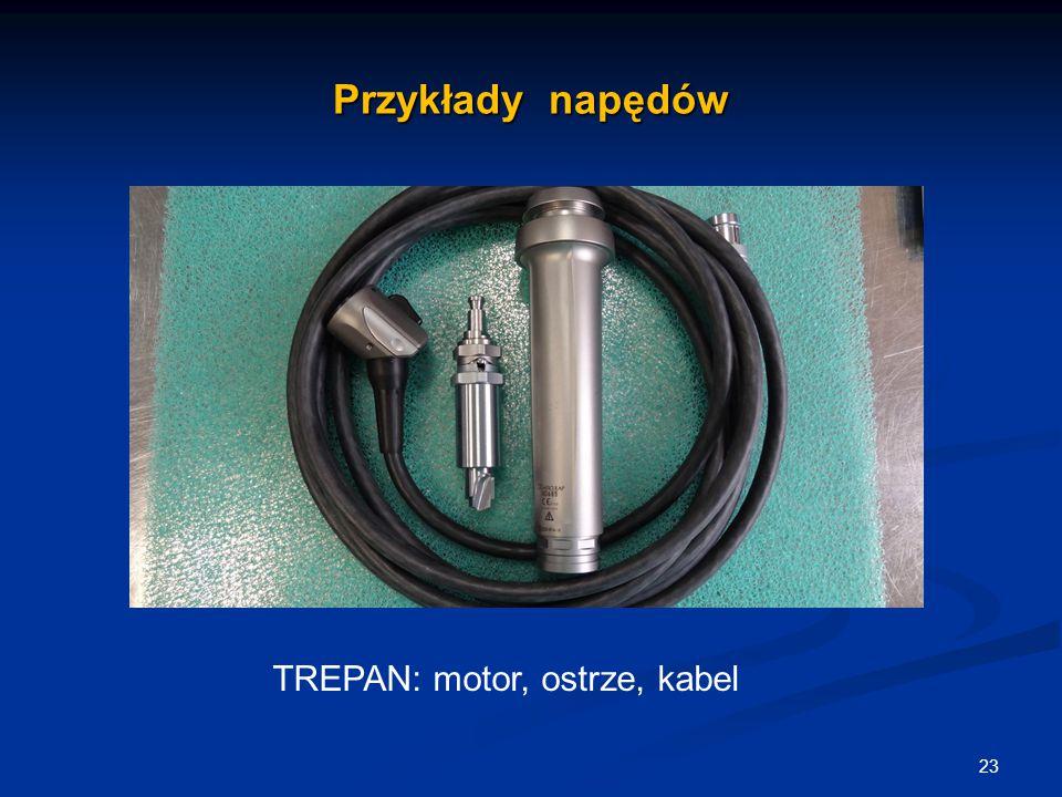 Przykłady napędów 23. TREPAN: motor, ostrze, kabel