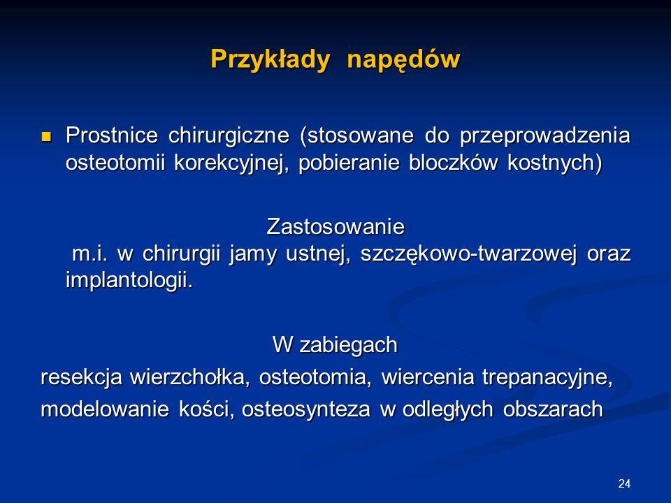 Przykłady napędów Prostnice chirurgiczne (stosowane do przeprowadzenia osteotomii korekcyjnej, pobieranie bloczków kostnych) Prostnice chirurgiczne (s