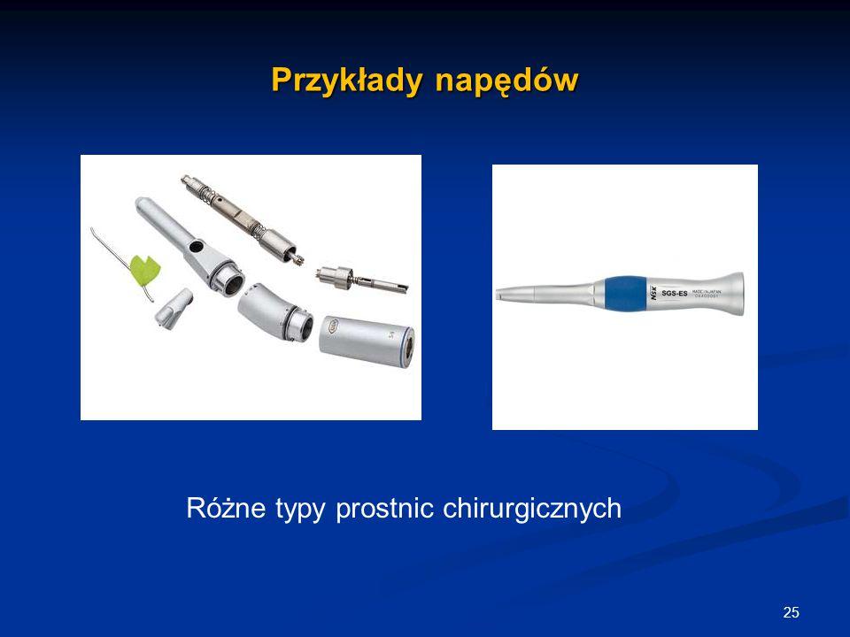 Przykłady napędów 25 Różne typy prostnic chirurgicznych