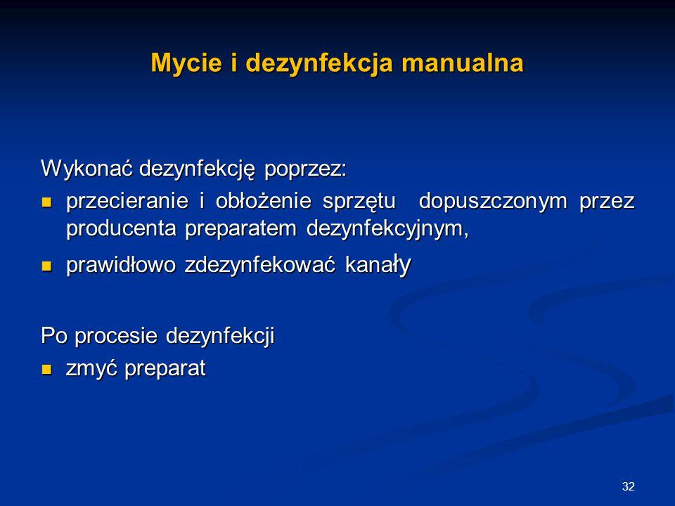 Mycie i dezynfekcja manualna Wykonać dezynfekcję poprzez: przecieranie i obłożenie sprzętu dopuszczonym przez producenta preparatem dezynfekcyjnym, pr