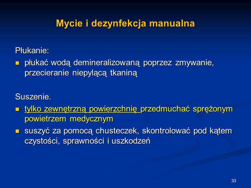Mycie i dezynfekcja manualna Płukanie: płukać wodą demineralizowaną poprzez zmywanie, przecieranie niepylącą tkaniną płukać wodą demineralizowaną popr