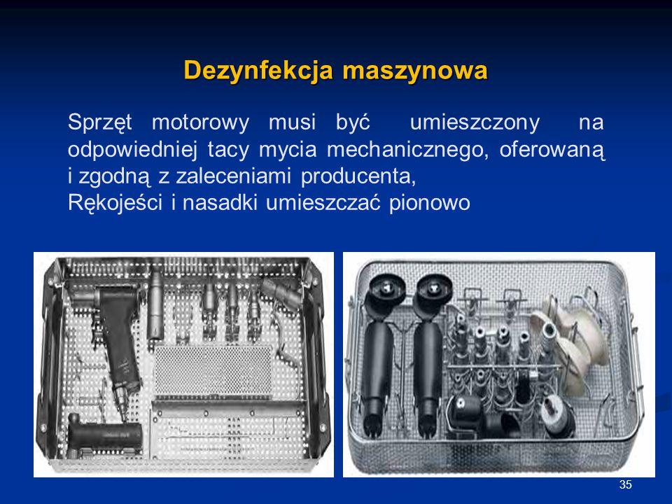 Dezynfekcja maszynowa 35 Sprzęt motorowy musi być umieszczony na odpowiedniej tacy mycia mechanicznego, oferowaną i zgodną z zaleceniami producenta, R