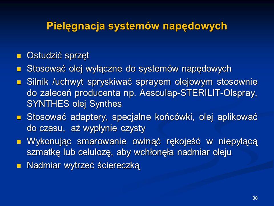 Pielęgnacja systemów napędowych Ostudzić sprzęt Ostudzić sprzęt Stosować olej wyłączne do systemów napędowych Stosować olej wyłączne do systemów napęd