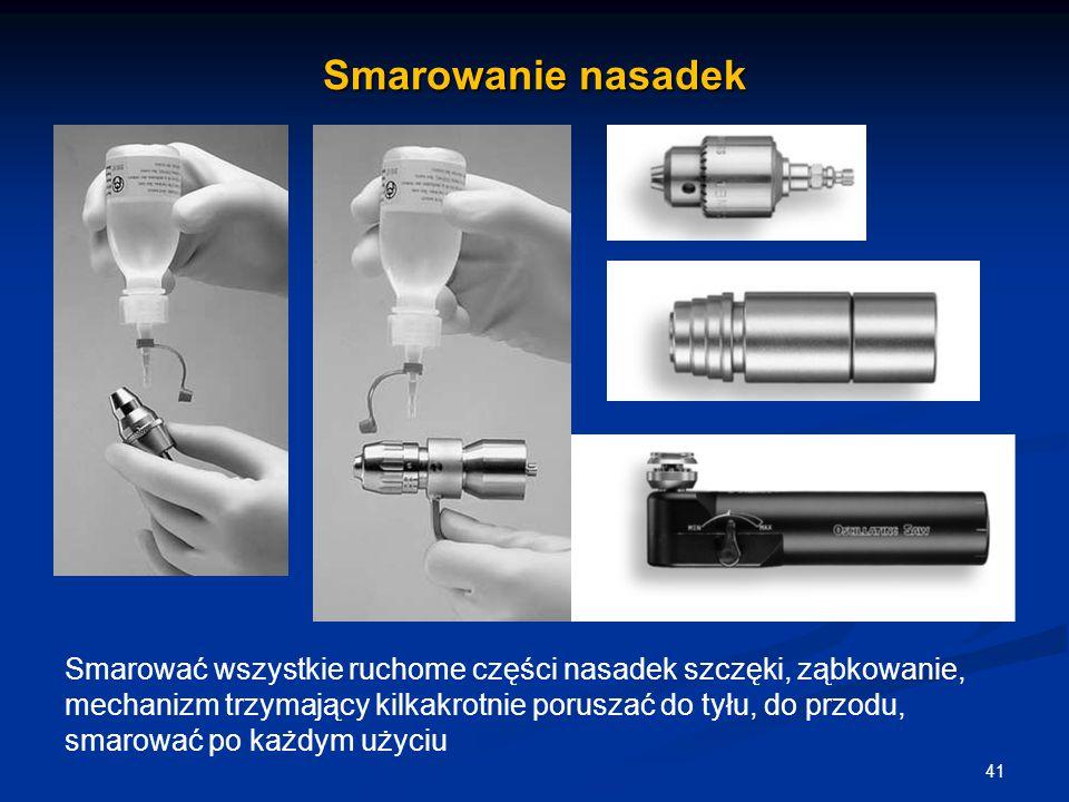 Smarowanie nasadek 41 Smarować wszystkie ruchome części nasadek szczęki, ząbkowanie, mechanizm trzymający kilkakrotnie poruszać do tyłu, do przodu, sm