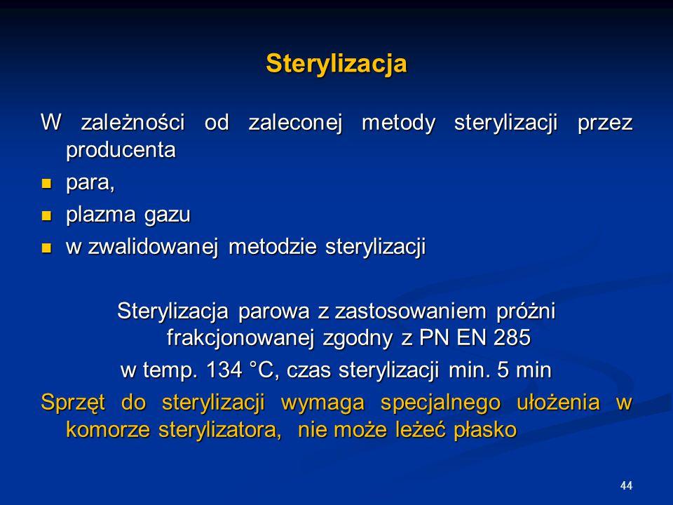 Sterylizacja W zależności od zaleconej metody sterylizacji przez producenta para, para, plazma gazu plazma gazu w zwalidowanej metodzie sterylizacji w