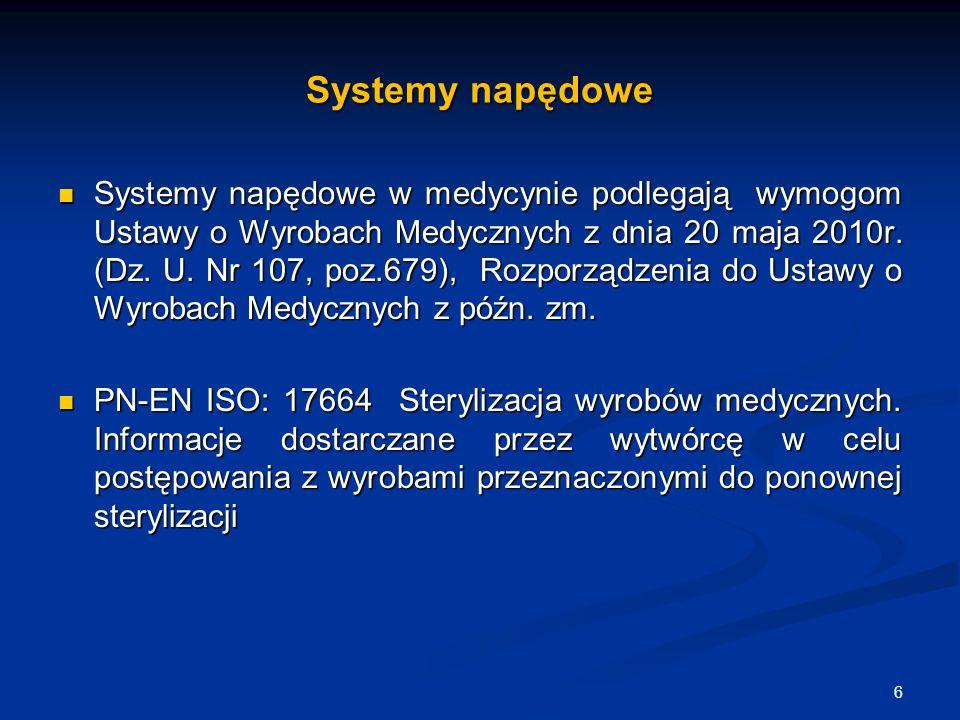 Systemy napędowe Systemy napędowe w medycynie podlegają wymogom Ustawy o Wyrobach Medycznych z dnia 20 maja 2010r. (Dz. U. Nr 107, poz.679), Rozporząd