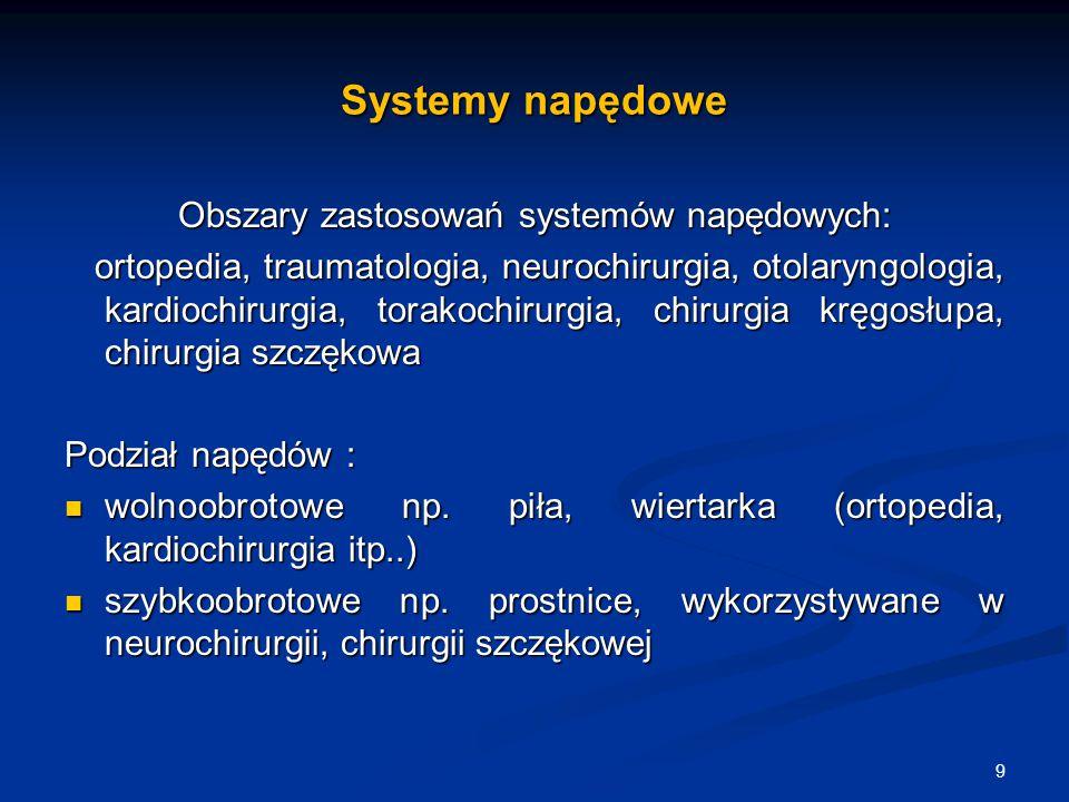 Systemy napędowe Obszary zastosowań systemów napędowych: ortopedia, traumatologia, neurochirurgia, otolaryngologia, kardiochirurgia, torakochirurgia,