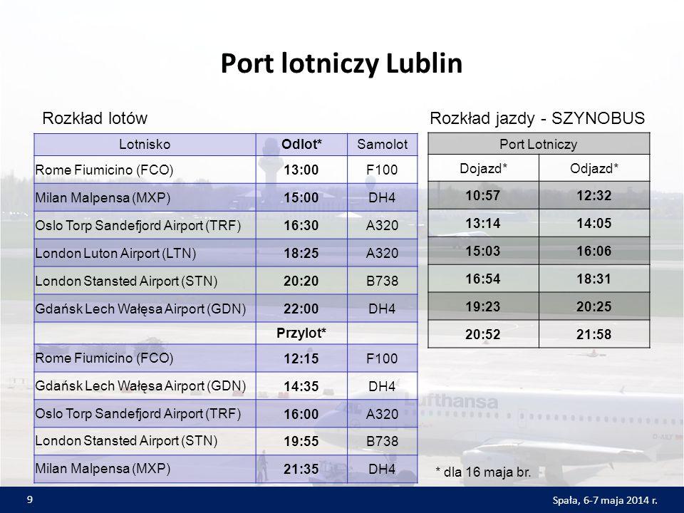 Port lotniczy Lublin LotniskoOdlot*Samolot Rome Fiumicino (FCO)13:00F100 Milan Malpensa (MXP)15:00DH4 Oslo Torp Sandefjord Airport (TRF)16:30A320 London Luton Airport (LTN)18:25A320 London Stansted Airport (STN)20:20B738 Gdańsk Lech Wałęsa Airport (GDN)22:00DH4 Przylot* Rome Fiumicino (FCO)12:15F100 Gdańsk Lech Wałęsa Airport (GDN)14:35DH4 Oslo Torp Sandefjord Airport (TRF)16:00A320 London Stansted Airport (STN)19:55B738 Milan Malpensa (MXP)21:35DH4 Port Lotniczy Dojazd*Odjazd* 10:5712:32 13:1414:05 15:0316:06 16:5418:31 19:2320:25 20:5221:58 9 Spała, 6-7 maja 2014 r.