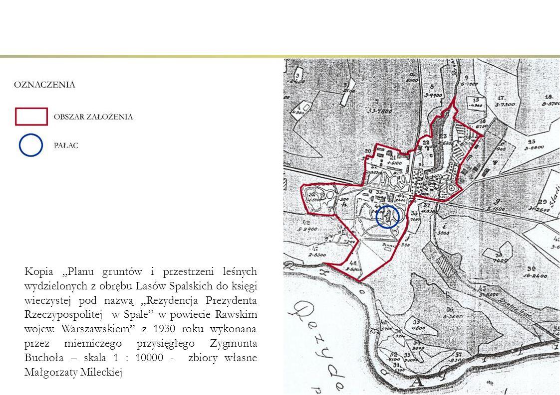 """Kopia """"Planu gruntów i przestrzeni leśnych wydzielonych z obrębu Lasów Spalskich do księgi wieczystej pod nazwą """"Rezydencja Prezydenta Rzeczypospolite"""