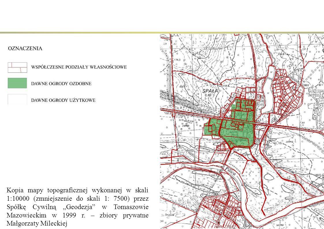 """Kopia mapy topograficznej wykonanej w skali 1:10000 (zmniejszenie do skali 1: 7500) przez Spółkę Cywilną """"Geodezja"""" w Tomaszowie Mazowieckim w 1999 r."""