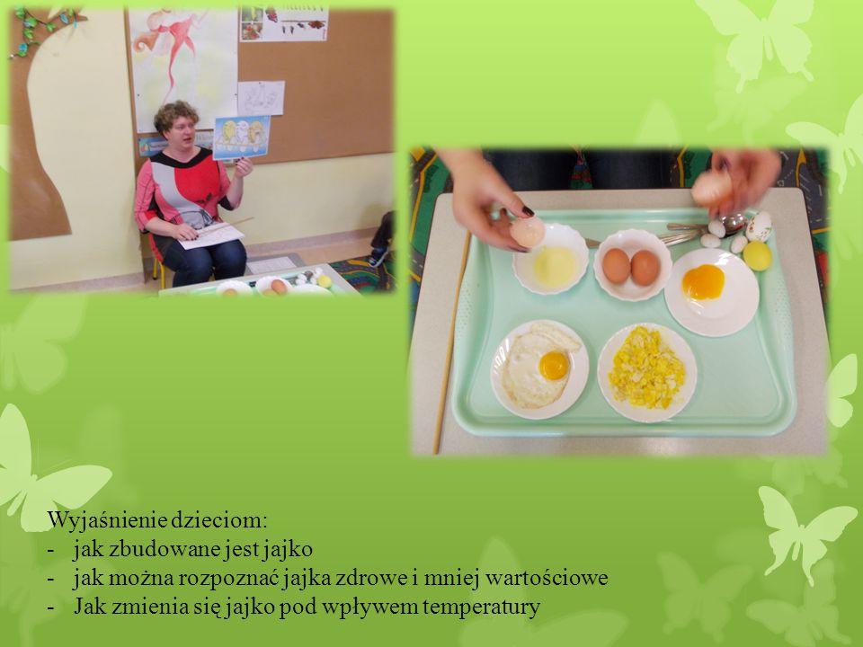 Wyjaśnienie dzieciom: -jak zbudowane jest jajko -jak można rozpoznać jajka zdrowe i mniej wartościowe -Jak zmienia się jajko pod wpływem temperatury