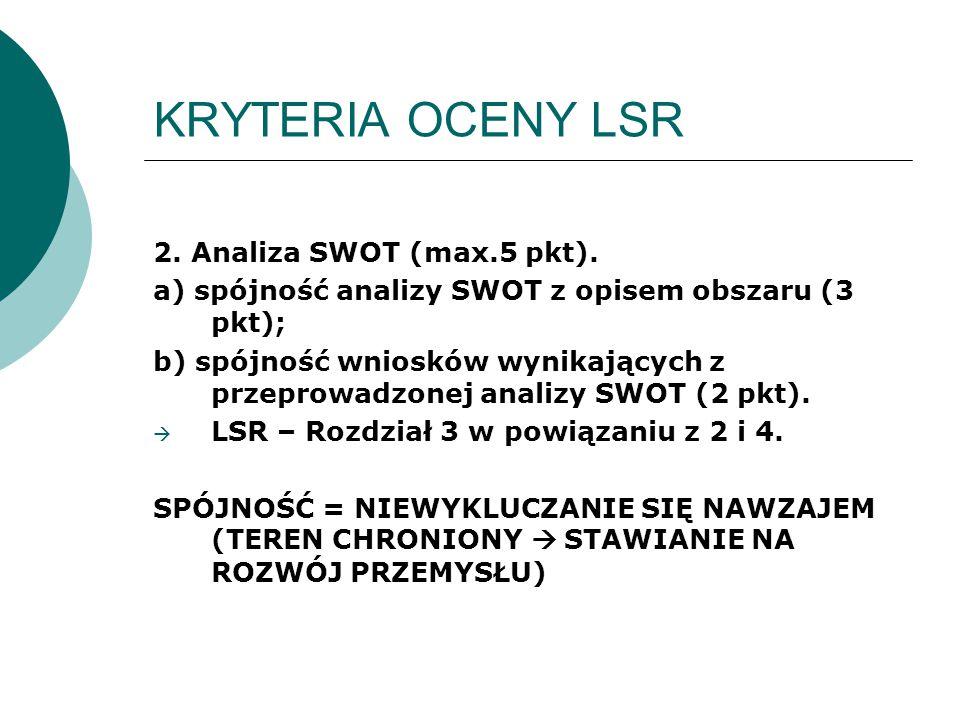 KRYTERIA OCENY LSR 2. Analiza SWOT (max.5 pkt). a) spójność analizy SWOT z opisem obszaru (3 pkt); b) spójność wniosków wynikających z przeprowadzonej