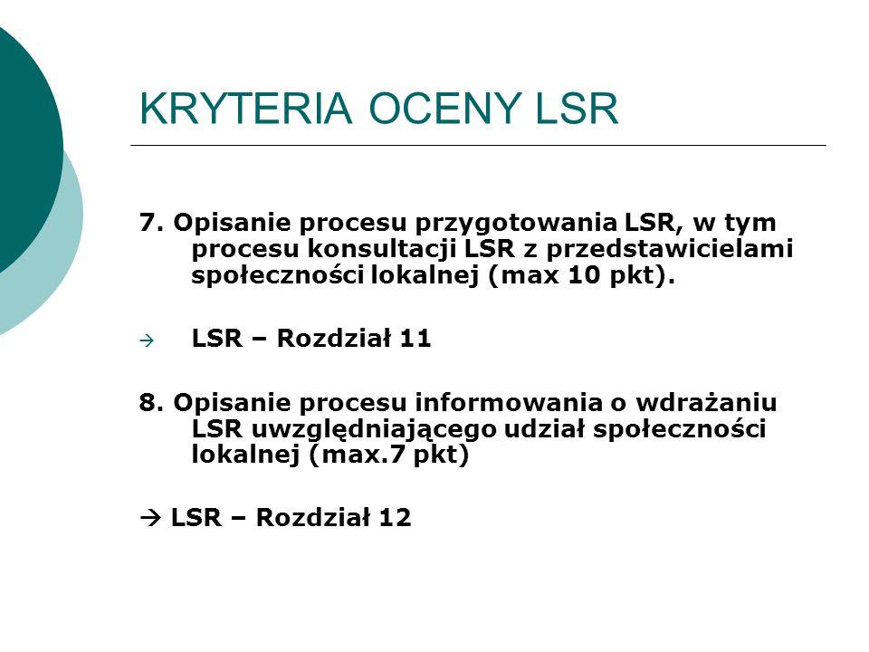 KRYTERIA OCENY LSR 7. Opisanie procesu przygotowania LSR, w tym procesu konsultacji LSR z przedstawicielami społeczności lokalnej (max 10 pkt).  LSR