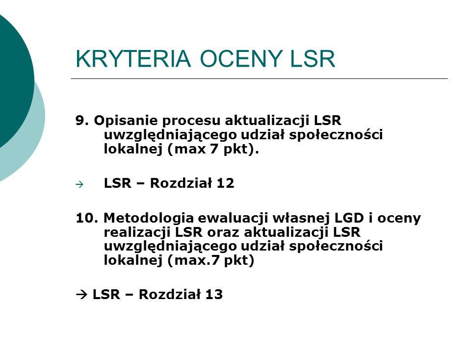 KRYTERIA OCENY LSR 9. Opisanie procesu aktualizacji LSR uwzględniającego udział społeczności lokalnej (max 7 pkt).  LSR – Rozdział 12 10. Metodologia