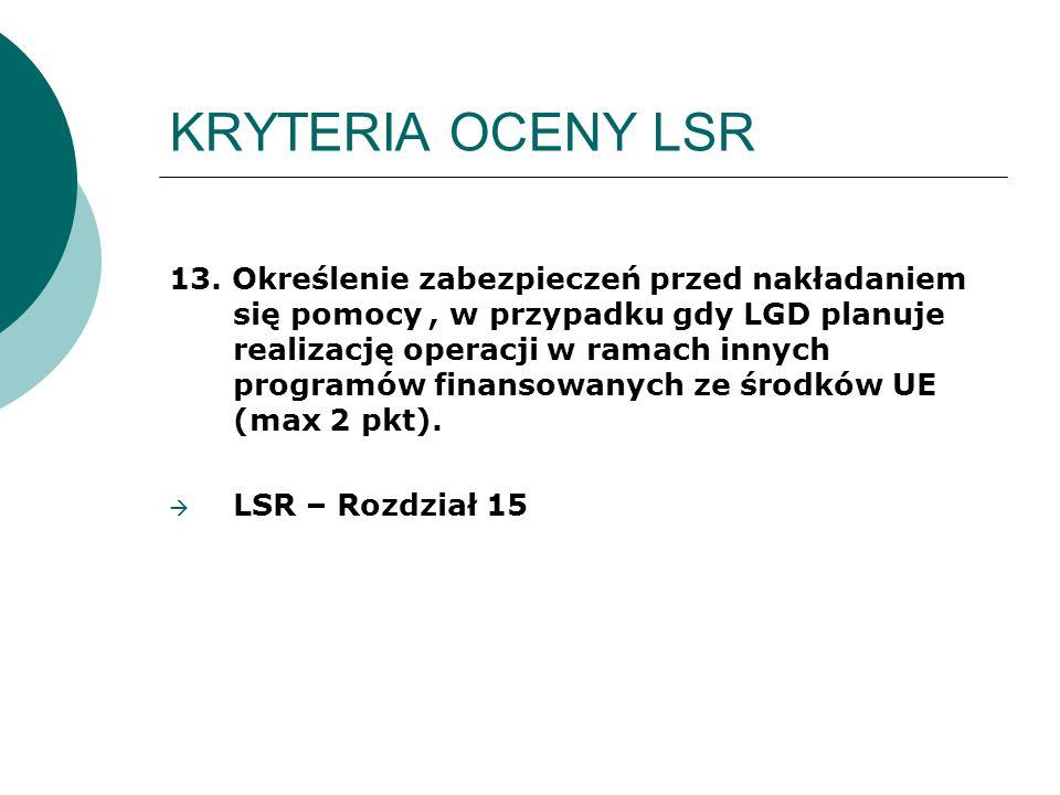 KRYTERIA OCENY LSR 13. Określenie zabezpieczeń przed nakładaniem się pomocy, w przypadku gdy LGD planuje realizację operacji w ramach innych programów