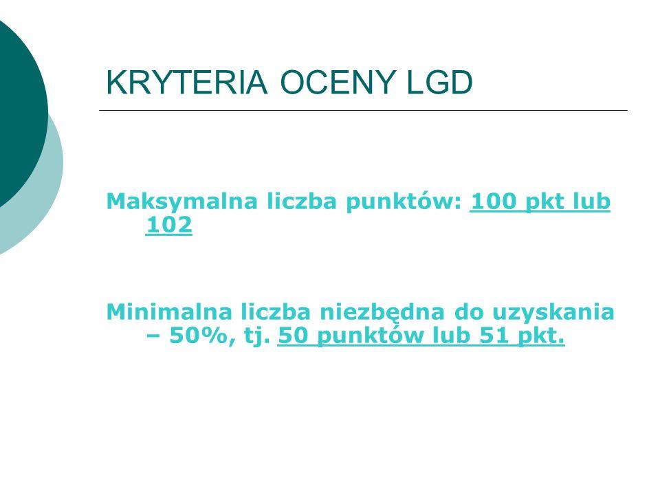 KRYTERIA OCENY LGD Maksymalna liczba punktów: 100 pkt lub 102 Minimalna liczba niezbędna do uzyskania – 50%, tj. 50 punktów lub 51 pkt.