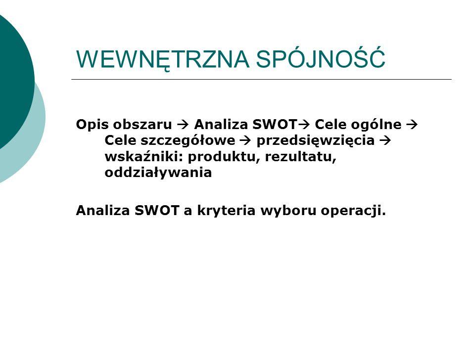 WEWNĘTRZNA SPÓJNOŚĆ Opis obszaru  Analiza SWOT  Cele ogólne  Cele szczegółowe  przedsięwzięcia  wskaźniki: produktu, rezultatu, oddziaływania Analiza SWOT a kryteria wyboru operacji.