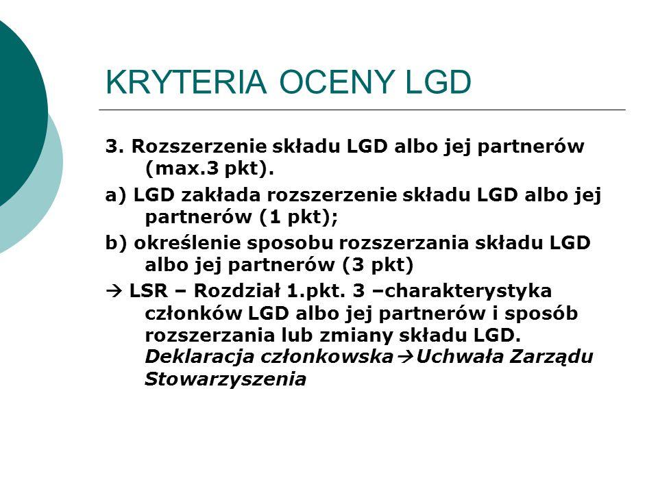 KRYTERIA OCENY LGD 3. Rozszerzenie składu LGD albo jej partnerów (max.3 pkt). a) LGD zakłada rozszerzenie składu LGD albo jej partnerów (1 pkt); b) ok