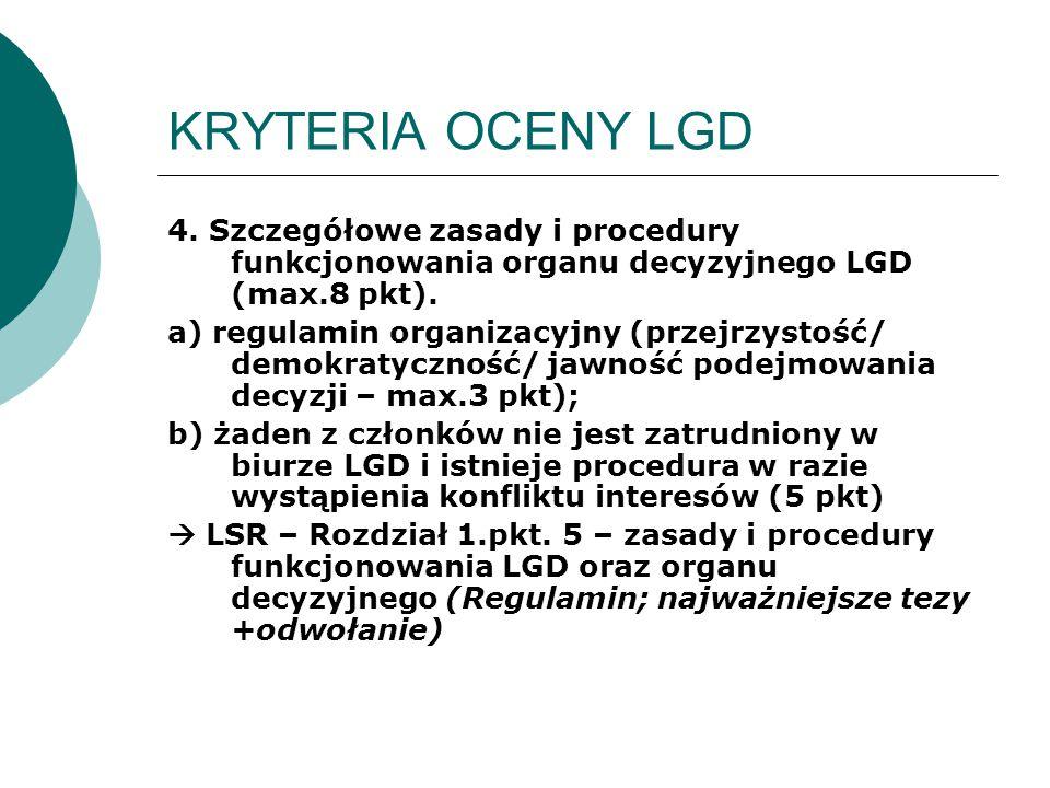 KRYTERIA OCENY LGD 4. Szczegółowe zasady i procedury funkcjonowania organu decyzyjnego LGD (max.8 pkt). a) regulamin organizacyjny (przejrzystość/ dem